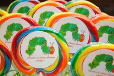 A Very Hungry Caterpillar Baby Shower-lollipops