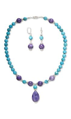 Single-Strand Necklace and Earring Set with Turquoise Gemstone Beads, Crazy Lace Agate Gemstone Beads and Silver-Plated Brass Bead Caps