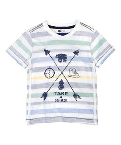 Another great find on #zulily! White & Gray Stripe 'Take A Hike' Tee - Toddler & Boys by Petit Lem #zulilyfinds