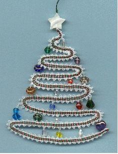 Lace Christmas Tree, Christmas Tree Pattern, Hairpin Lace Crochet, Crochet Motif, Crochet Edgings, Crochet Shawl, Bobbin Lace Patterns, Bead Loom Patterns, Lace Earrings