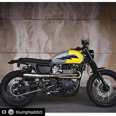 Triumph Scrambler by Whats your favourite colour combo? Triumph Cafe Racer, Triumph Scrambler Custom, Triumph Street Scrambler, Bobber Custom, Ducati Scrambler, Cafe Racer Bikes, Cafe Racer Build, Scrambler Motorcycle, Triumph Motorcycles