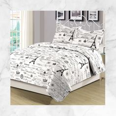 Beatrice Paris King Quilt Set with Matching Curtains 5 Piece Eiffel Tower Black and White – Quilt Sets – Bedding – Bed & Bath Girls Comforter Sets, Bedding Sets, White Bedding, Bedroom Wallpaper Black And White, White Bedroom, Bedroom Ideas For Teen Girls, Teen Rooms, Saris, Paris Bedding