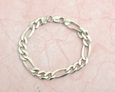 Sterling silver chunky Figaro link bracelet for a man, made in Italy, 27 grams, hallmarked by CardCurios on Etsy Silver Charms, Link Bracelets, Two By Two, Italy, Sterling Silver, Chain, How To Make, Vintage, Jewelry