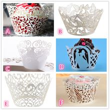 50pcs Laser Cut Cupcake Wrapper Liner Baking Cup Muffin Case Trays Birthday Baby…