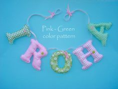 Fabric name banner PINK  GREEN color pattern by LittleFairyCottage, $7.00