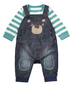 Mothercare Bear Denim Dungaree Set £16