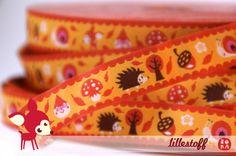 woven ribbon 'Little forest' orange by ByBora on Etsy, £1.60