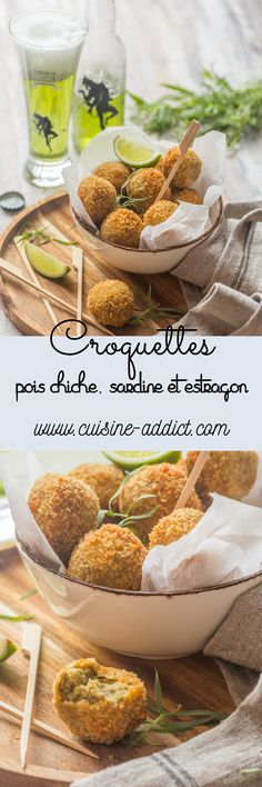 Croquettes de Pois chiche & Sardines à l'Estragon via @cuisineaddict