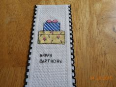 cross stitch birthday bookmark available in my etsy shop   DebbyWebbysCards