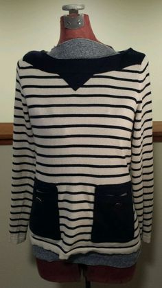 Womens Size M Anthropologie Tabitha Cashmere Sweater Ivory Navy Blue Striped EUC #Anthropologie #Sweater #Cashmere