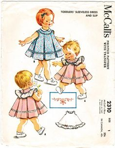 Vintage McCall's Toddler's Dress and Slip Pattern.