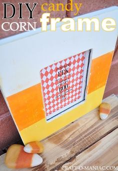 DIY Candy Corn Painted Frame #plaid crafts #diy #halloween decor #halloween by StephP