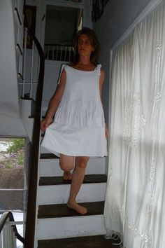 N30.8:) SHIFT.top.skirted. white.short length.double layered linen mix.HALL-HARRIS designed & handmade.