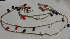 Vintage 54 Inch Gold tone Link Necklace with red white and blue bead charms by tracisallymaxx on Etsy