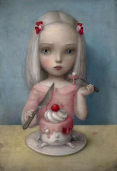 Eye Candy By Nicoletta Ceccoli, Clearly influenced by Mark Ryden. Mark Ryden, Art Pop, Art And Illustration, Portrait Illustration, Art Illustrations, Fashion Illustrations, Art Sinistre, Arte Lowbrow, Art Mignon