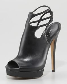 Casadei Ankle-Wrap Slingback Platform