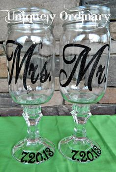 Mr. and Mrs. Redneck Wine Glasses  Can be made for any occasion   Perfect for a unique wedding gift or gift for that newly married couple via Etsy