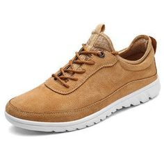 Men Breathable Holes Leather Soft Sole Flat Casual Sport Sneakers