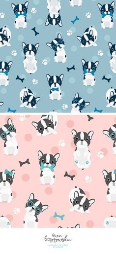 Frenchie - blue textile surface pattern design with french bulldogs.