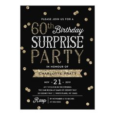 Free printable 60th birthday invitations drews 60th pinterest 60th glitter confetti surprise party invitation filmwisefo