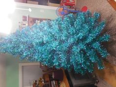 Vintage late 1950s - 1960's Blue Green Aluminum 7' Christmas Tree - 168 Branches
