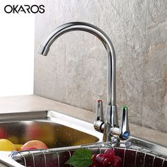 OKAROS Kitchen Faucet Laundry Sink Faucet Tap Chrome Plated Deck Mounted Dual Handle 360 Degree  Hot Cold WaterTap Mixer  #Affiliate