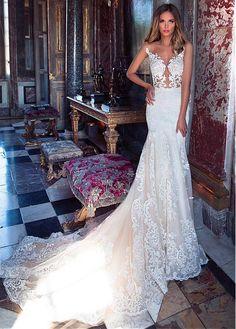 Acheter Amazing Tulle Jewel Neckline See-through Bodice Mermaid Wedding Dress With Lace Appliques pas cher chez Laurenbridal.com