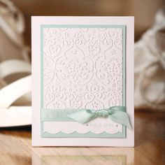 Mint wedding card, made with the Cuttlebug. Very cute. I'll make these one day, after I finally buy a Cuttlebug.