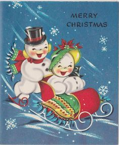 Happy Snow People on Vintage Christmas Card  UNUSED by OldCards