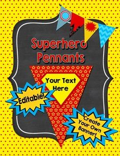 I love the trend of pennants for classroom decor. Pennants are fun and functional. This set includes an editable PowerPoint file that allows you to add and change text to create your own superhero themed banners for your classroom. Included in the ppt file are directions on how to edit your banners. You get twenty five variations to choose from.