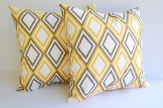 Throw pillow covers set of two 16 x 16 gold yellow and taupe diamonds Yellow Pillow Cases, Yellow Throw Pillows, Pillow Set, Throw Pillow Covers, Taupe Paint, Mellow Yellow, Gray Yellow, Bright Yellow, Living Room Colors