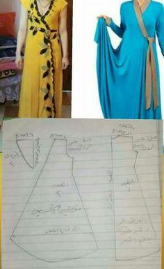 Kimono dress Modest Fashion, Diy Fashion, Fashion Outfits, Dress Sewing Patterns, Clothing Patterns, Clothing Store Displays, Modele Hijab, Caftan Dress, Simple Dresses