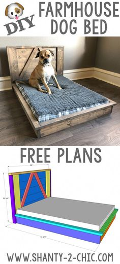 DIY Farmhouse Dog Bed doggy daycare Build this custom DIY Farmhouse Dog Bed with Free plans from www Wood Dog Bed, Pallet Dog Beds, Diy Dog Bed, Dog Bed From Pallets, Large Dog Bed Diy, Homemade Dog Beds For Large Dogs, Small Dog Beds, Small Dogs, Diy Vanity