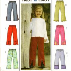 A Pull-On, Elastic Waist Pants Pattern with 6 Trim & Hem Variations for Children
