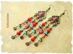 Boho Gypsy Indie Chandelier Earrings Colorful Vibrant