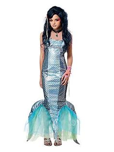 GIRL'S TWEEN PEARL SWIRL MERMAID COSTUME