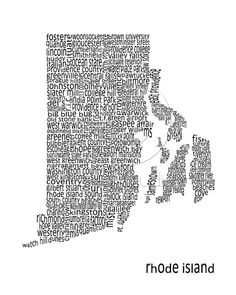5x7 Matted Word Art Print  Rhode Island Map by ReStudios on Etsy, $25.00