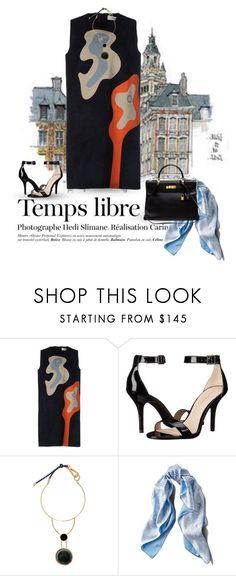"""Black, orange, soft blue."" by clothesmonkey ❤ liked on Polyvore featuring Hedi Slimane, MSGM, Pelle Moda, Marni, Asprey and Hermès"