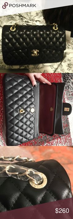 Black Quilted Double Flap Gold Chain Bag Designer inspired. Only used once, since I like bigger bags. Faux leather, in new condition. Open to REASONABLE OFFERS.   NEXT DAY SHIPPING Bags Shoulder Bags