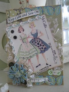 Vintage-style Sewing Card Sewing-themed Card by AvantCarde