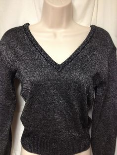 Sz s Small Double V Neck Black with Silver Sparkle Sweater Vintage Circa 80's Disco