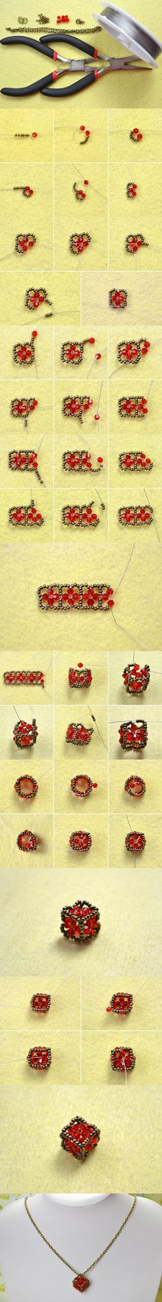 Tutorial on How to Make a Vintage Beaded Cube Pendant Necklace with Red Crystals from LC.Pandahall.com