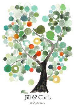 Wedding Guest Book Alternative Modern VELVET ASH TREE Love Birds Watercolor…