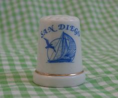 San Diego Souvenir Thimble, Vintage Collectible Thimble, White and Blue, Sailboat