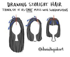 Reposting an old tip for drawing straight hair! - Quick Tip Monday - drawing straight hair. Think of it as one mass with subdivisions. Choose where the hair will be parted (red) and subdivide it (blue) following the flow of the chosen hairstyle. Much harder to talk about how to draw hair than to actually draw it! Haha For weekly tips, sign up: daniellepioli.com