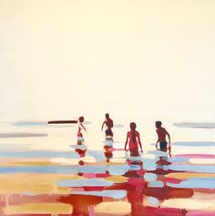 "Gravity, a Oil on Canvas by Elizabeth Lennie from Canada. It portrays: Beach, relevant to: people, sun, swim, water, warm colours, heat, wading into water, ocean 30""X30"", oil on canvas, 2016 reminiscent of the memory myth of summer"