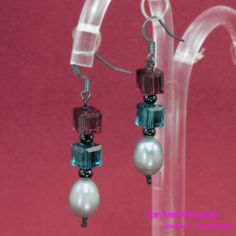 Amethyst and Green Cube Crystals Silver Pearl Earrings