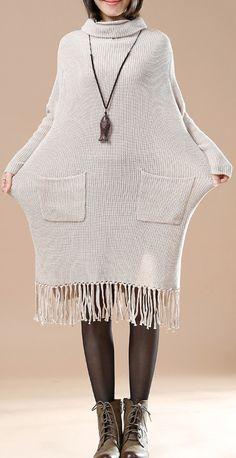Khaki elegant knit dreses plus size sweaters tasssled dresses
