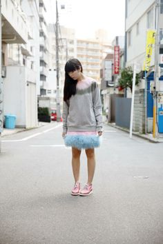Susie Lau Style Bubble P.A.M. fuzz sweater Meadham Kirchhoff x Topshop skirt #streetstyle