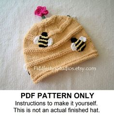 KNITTING PATTERN PDF - Baby Hat Knitting Pattern - Honey Bee Beehive Hat (Newborn, Infant, Toddler, Child sizes) Children Spring Hat Pattern. $5.50, via Etsy.